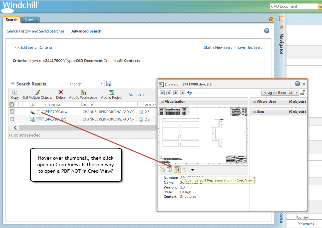 Open Pdf Not In Creo View From Windchill Ptc Community