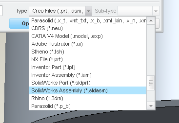 Trying to import a Solidworks File into Creo Par 2 - PTC