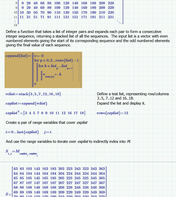 Solved: How to extract non-consecutive submatrix in a easi    - PTC