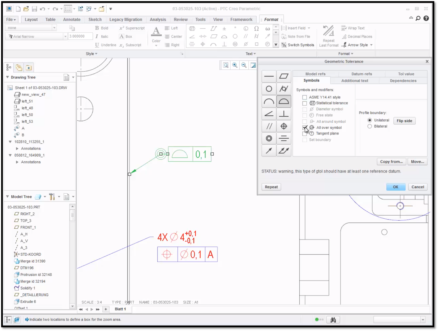 Did you know ptc creo 30 enhancements geometric ptc user notice that all over symbol has appeared to the left of the leader elbow in green buycottarizona