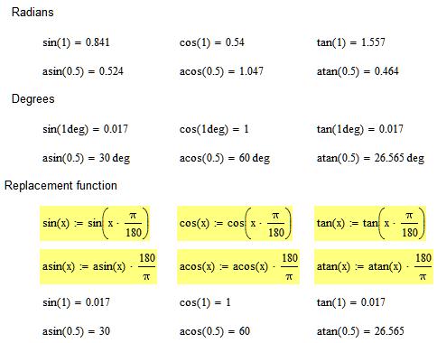 How can I set trigonometric functions to be in deg    - PTC
