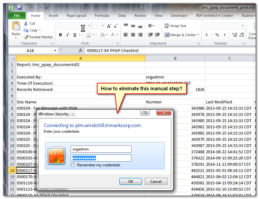 How to automatically pass log on credentials in an    - PTC
