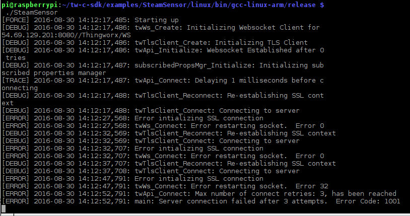 Solved: RPi SteamSensor C SDK example - Error initializing    - PTC