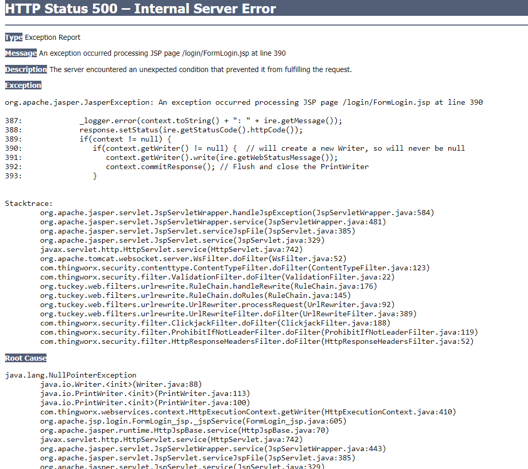 Solved: HTTP Status 500 – Internal Server Error with Thing