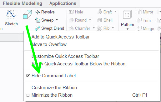 Solved: Unhide / Show command lables (in the ribbon) - PTC