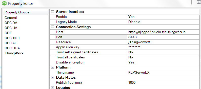 Solved: Re: cannot connect to Thingworx from Kepserverex V    - PTC