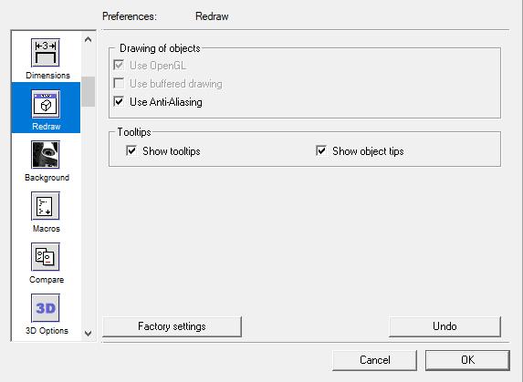 Redraw settings