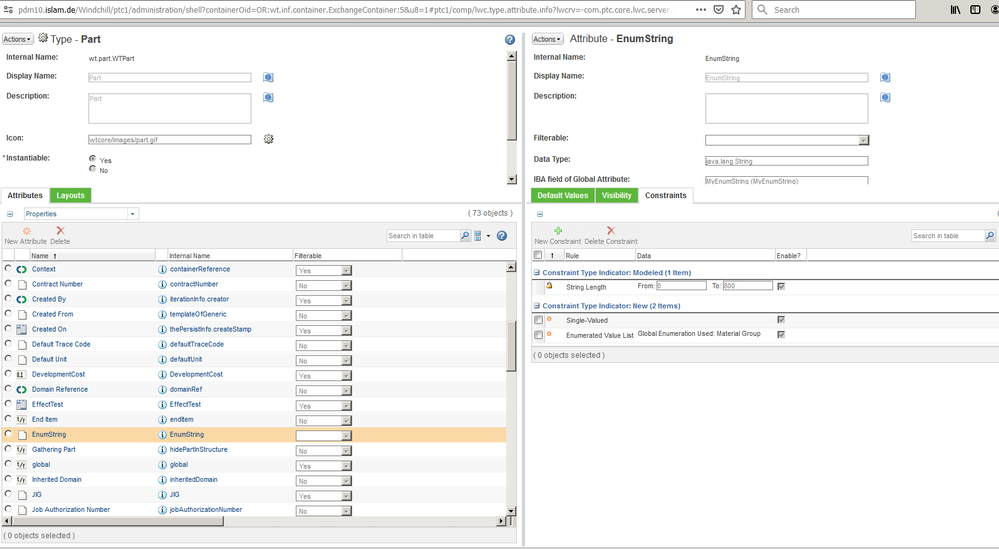 create an IBA and add constraint enumeration