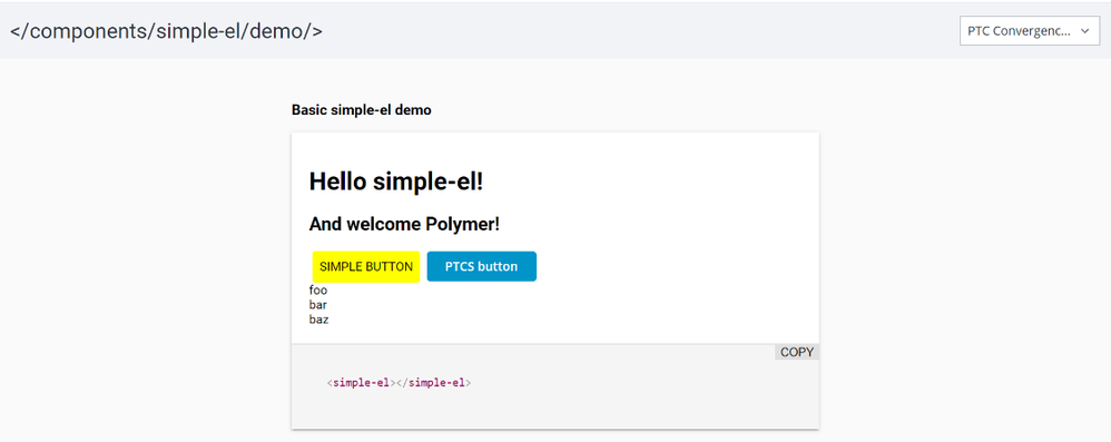 Sample Polymer component included in the SDK called simple-el