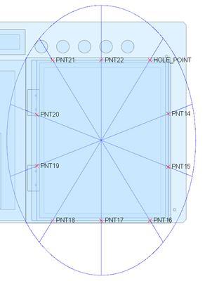 Rectangular hole pattern using reference ellipse