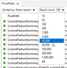 Changing the response limit to a large number to ensure all of the results show in the PurePaths dashboard.