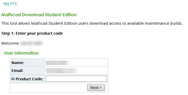 Enter your Mathcad Product Code
