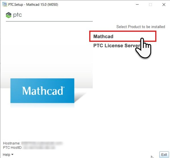 Seelct Mathcad as the Product to be Installed and select #Next