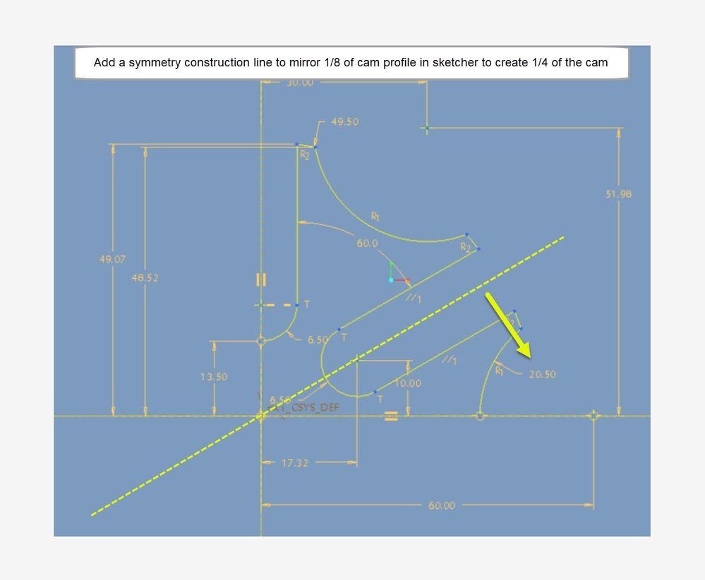Use centerline to mirror sketch insuring symmetry