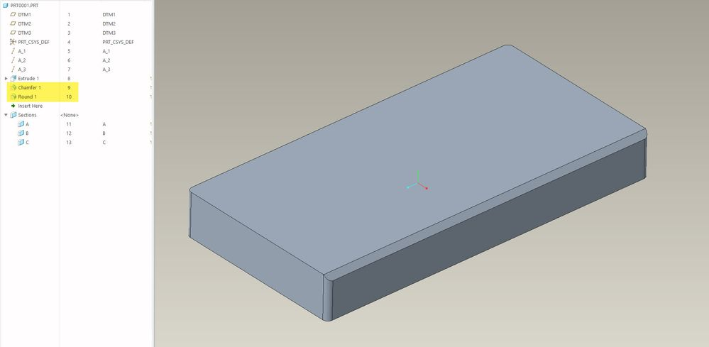 Create chamfer prior to rounding the vertical corners of the solid