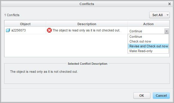 Conflicts pop up widnow