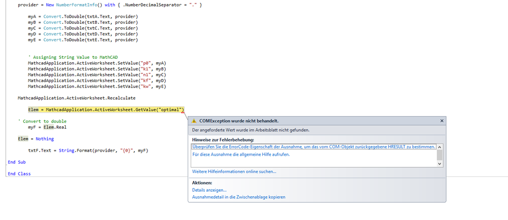 VB.Net for setvalue and getvalue with ComException... - PTC Community