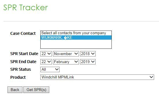 PTC eSupport SPR tracker search.JPG