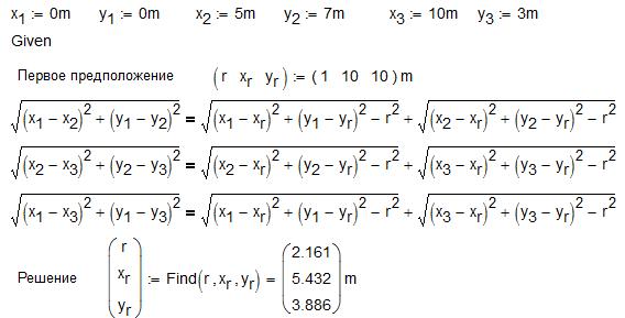 Рис. 13.4 Численное решение задачи об окружности, вписанной в треугольник
