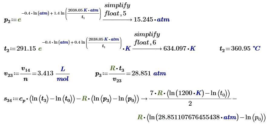 Рис. 29.8. Продолжение расчета цикла Отто в среде Mathcad