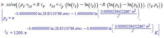 Рис. 29.9. Продолжение гибридного расчета цикла Отто в среде Maple