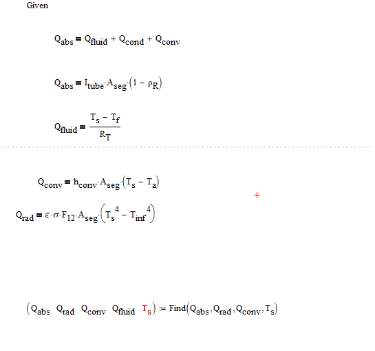 Energy balance equation on surface of tube (Taking solar energy as source)