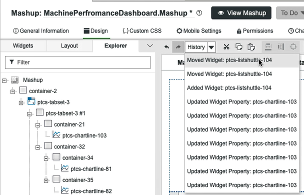 Undo and Redo actions now available in the Mashup Builder.