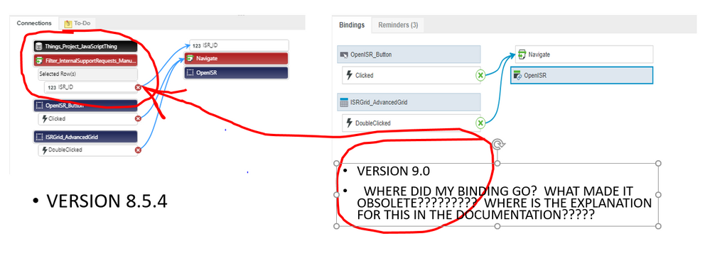"Compare 8.5.4 to 9.0: Removed ""obsolete"" binding...WHY?????"