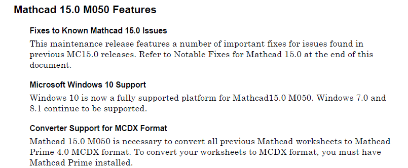 Mathcad 15.0 M050 Features.png