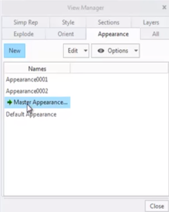 Reactivating the Master Appearance in the View Manager dialog.