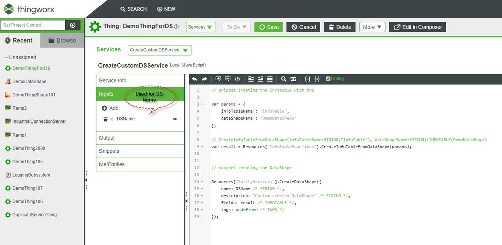 DataShape creation with JavaScript service in ThingWorx