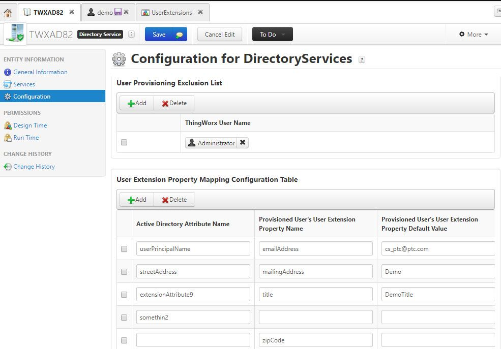 Configuration for Directory Service